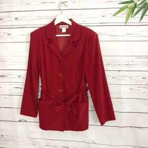 BRIGGS Red Blazer Small S Button down Womens